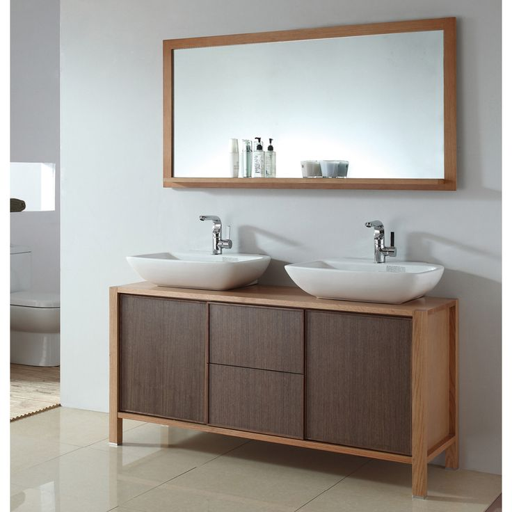 Photo Gallery For Website Ceramic inch Dual Basin Sink Bathroom Vanity with Matching Mirror Overstock