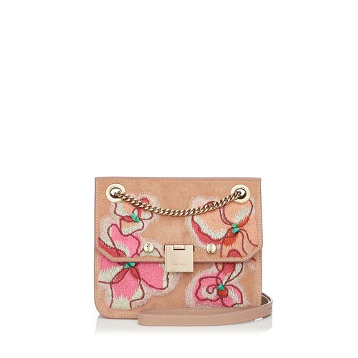 7d771ee1ac40 JIMMY CHOO REBEL XB Ballet Pink Suede Cross Body Bag with Floral Stitch  Embroidery.  jimmychoo  bags  shoulder bags  lining  suede  cotton