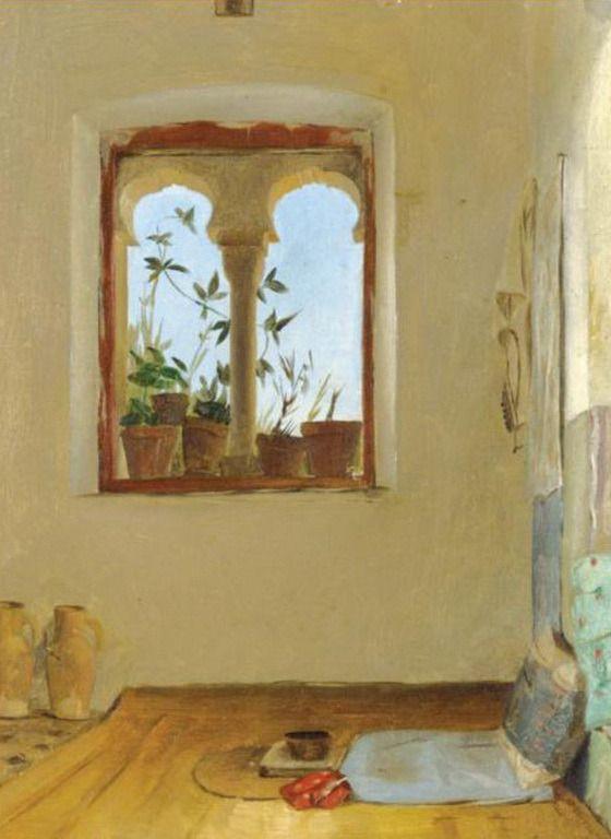Ράλλης Θεόδωρος-Interior with bed by Theodoros Ralli (Greek 1852-1909)
