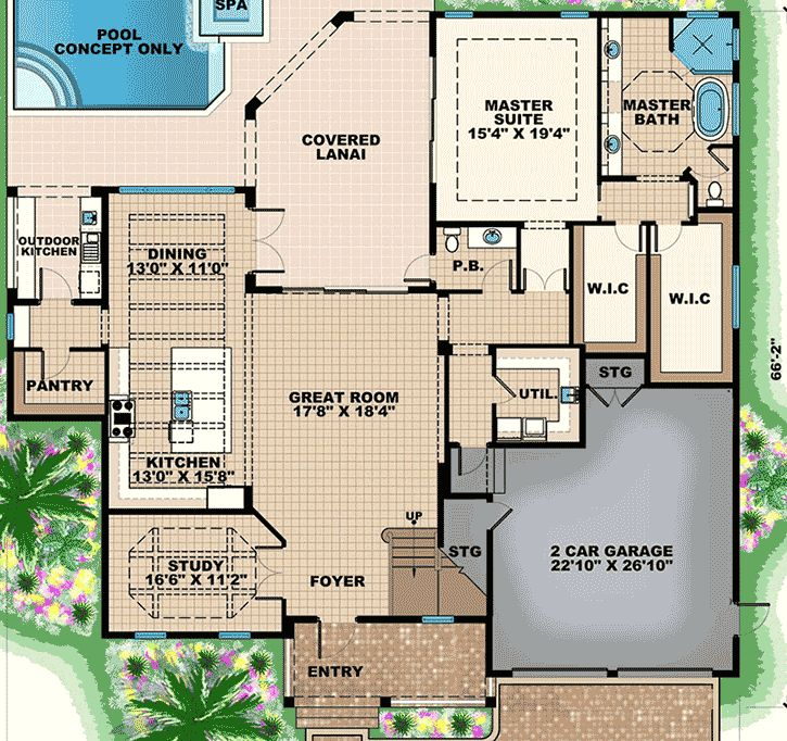 Florida Living in Style - 66353WE | Florida, Mediterranean, Photo Gallery, 1st Floor Master Suite, Butler Walk-in Pantry, CAD Available, Den-Office-Library-Study, Loft, PDF, Corner Lot | Architectural Designs
