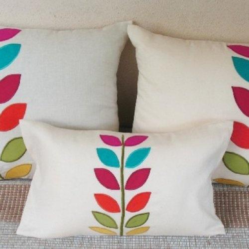 smarties applique leaf linen cushion cover 18 inch toss pillow set of | comfyheaven - Housewares on ArtFire