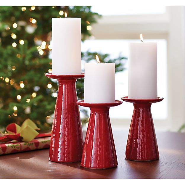 Cerise red tall pillar candle holder in candle holders for Christmas pillar candle holders