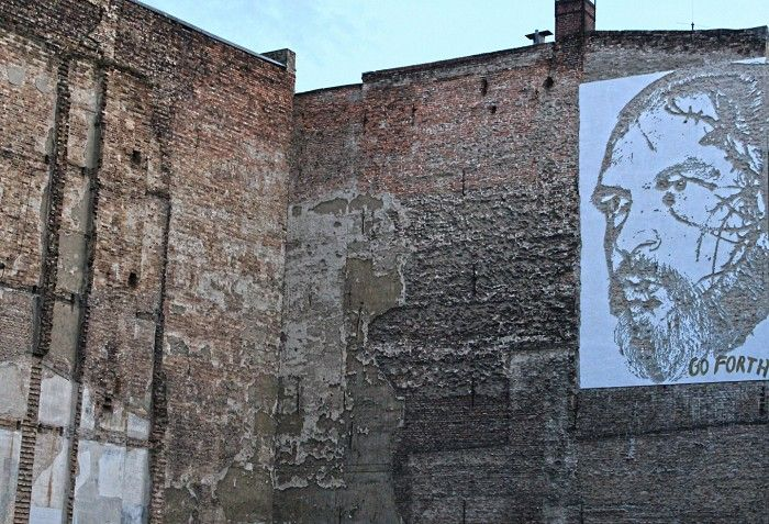 """Street Artist """"Vhils"""" aka Alexandre Farto from Lisbon Portugal hits Berlin. Vhils technique of creating his artwork is absolutely unique. What sounds like an action film is his usual way of creating art: By using jackhammers and even explosives to create his artworks. Vhils left 4 murals in the city on Berlin, showing portraits of his personal Berlin heroes.    http://www.streetartbln.com/blog/berlin-street-artist-vhilz-aka-alexandre-farto-report-and-fotos-by-street-art-berlin/"""