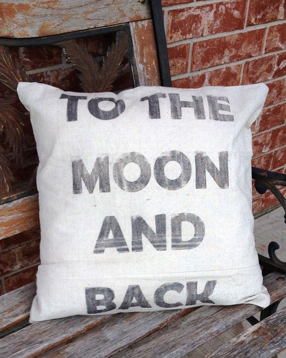 To The Moon And Back Pillow, Quote Pillow, Customized Pillow, Baby Shower Gift, 18x18 Linen Pillow, PILLOWCASE ONLY