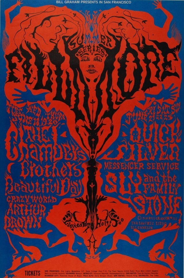 (BG 125) ....... 6/18/ 1968 .    .....Fillmore West Summer Series .....  The Chambers Brothers ..... It's a Beautiful Day .... The Crazy World of Arthur Brown ...   Art by .... LEE CONKLIN