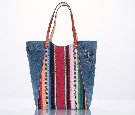 Denim Collection tote from upcycled blue jeans and a thrift sweater. Pockets!!