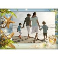 Морская рамка для фото - Солнце, пляж, морские звезды