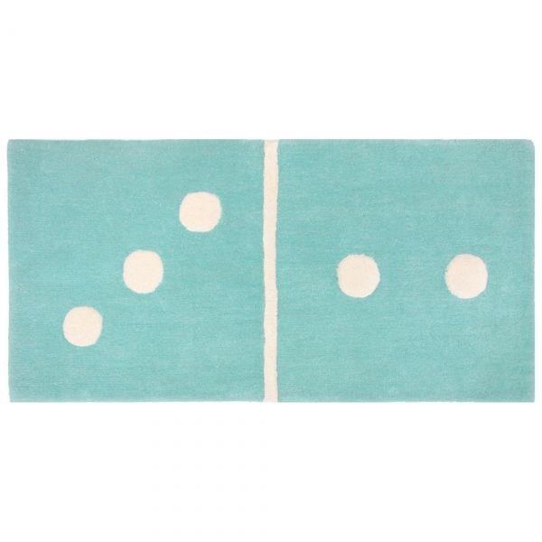 Tapis enfant bleu domino 3/2 60x120 - Tapis Cosy