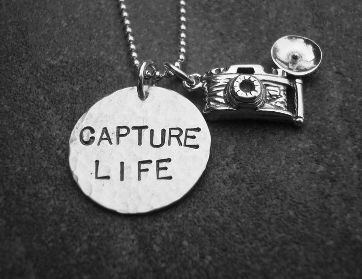 Capture Life Hand Stamped Necklace. $49.90, via Etsy. www.klacustomcreations.etsy.com Plectron,  Plectrum, Vintage Cameras, Capture Life, Necklaces, Photography Quotes, Life Photography, Hands Stamps Jewelry, Vintage Image
