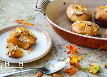 Our Roasted Frangipane Peaches are deceivingly easy to make! It's a simple and rustic pudding that's perfect for a tea party or picnic.