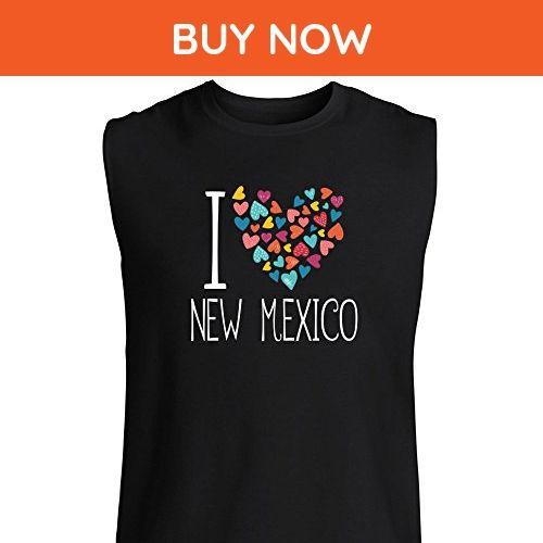 Idakoos - I love New Mexico colorful hearts - Usa States - Sleeveless T-Shirt - Cities countries flags shirts (*Amazon Partner-Link)