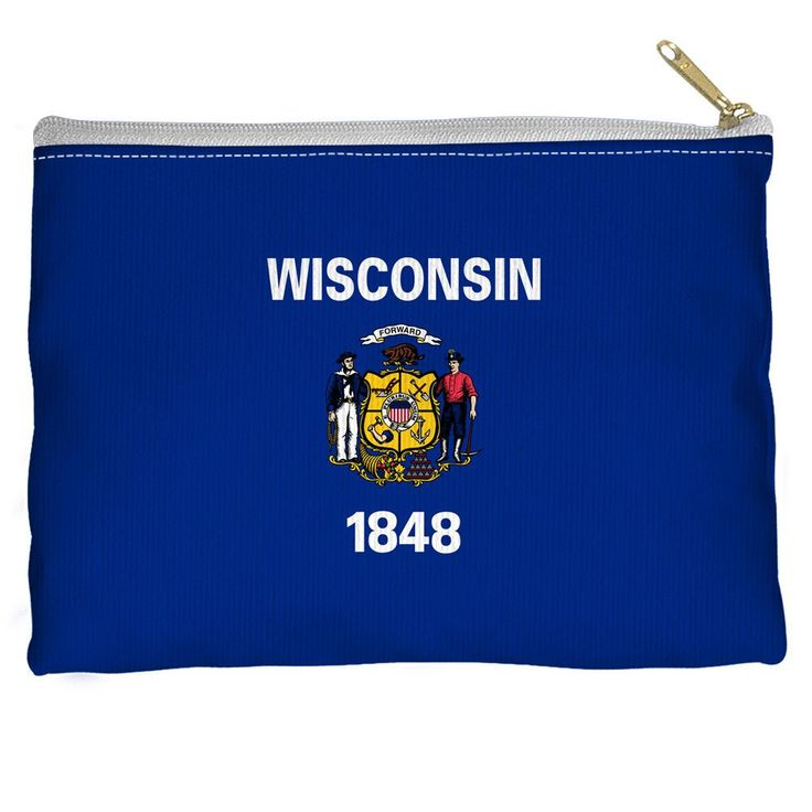 Wisconsin Flag Accessory Straight Bottom Pouch