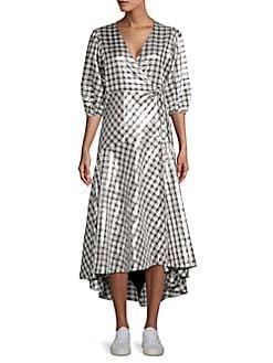 b44ad224 Ganni - Lagarde Metallic Plaid Wrap Dress | Shopstyle | Dresses ...