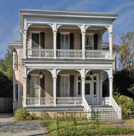 1820s 1880s greek revival double gallery style home for New orleans style homes