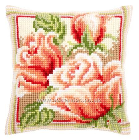 Buy+Pink+Roses+II+Cushion+Front+Chunky+Cross+Stitch+Kit+Online+at+www.sewandso.co.uk