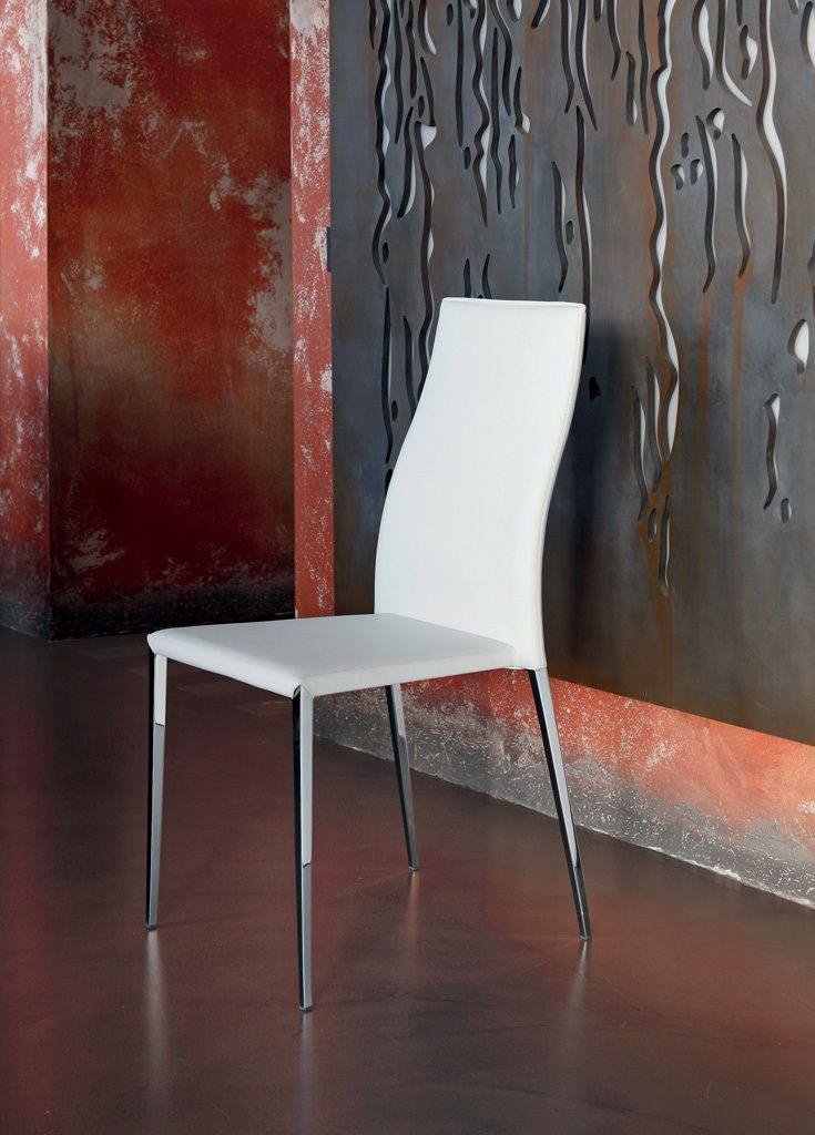 Tai chair by Bontempi Casa with steel frame upholstered and covered in Eco leather or leather fiber.