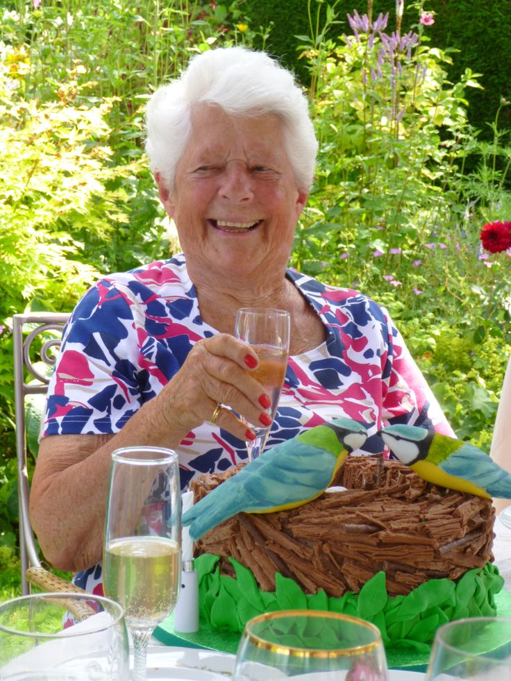 My mother-in-law, Theresa, with her 90th  birthday cake.