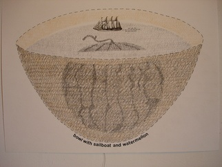 Gordana Olujic Dosic 'bowl with sailboat and water mellon' Mixed Media, 2010 - Free Artist Portfolio at absolutearts.com
