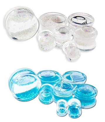 Liquid glitter filled acrylic double flare plugs by Metal Mafia (white and blue)