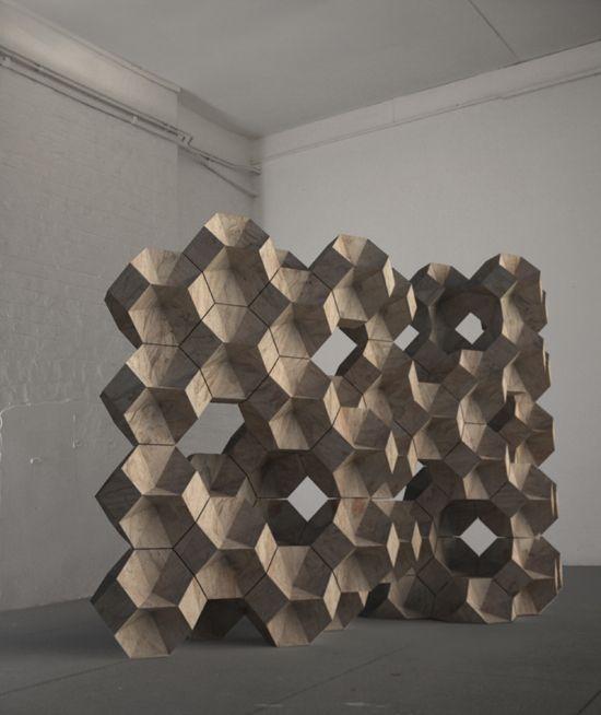 Brickworks (2010)  //  Chipboard  //    0.40m x 0.40m x 0.40m  (Module size) // Daniel Widrig