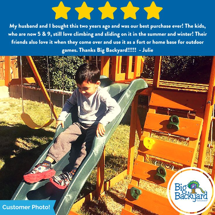 Another satisfied customer! We love seeing pictures of all the fun you have playing on your Big Backyard Play Sets!
