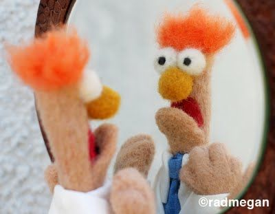 needle felt beaker - what amazing nerdery -- OMG she did a Kermit too.  ADORABLE!! #Muppets