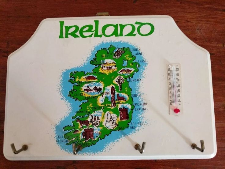 """Super cute small key hanger hook that has a neat map of Ireland and a thermometer to boot! 6 1/4"""" wide by 4 1/2"""" tall. The far right hook is a tiny bit loose but still operable. 