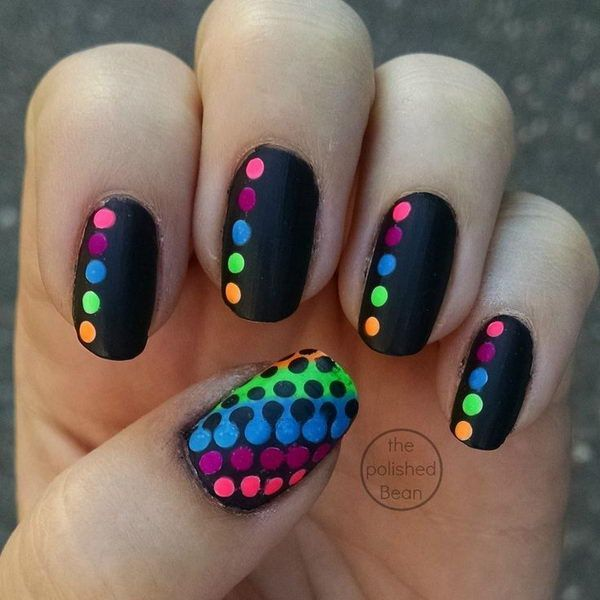 Black-Rainbow-Polka-Dot-Nails – 30 Adorable Polka Dots Nail Designs