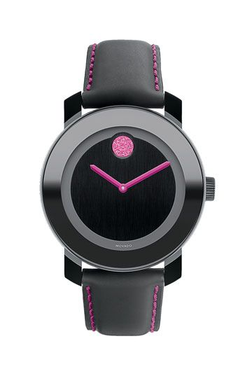 Movado Bold Round Leather Strap Watch (Special Edition - Breast Cancer Awareness)