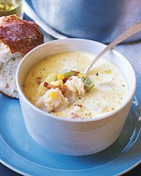 Corn-and-Cod Chowder | With its all-American ingredients, this New England-style chowder is a comfort-food classic. The soup needs only bread, or traditional oyster crackers, as an accompaniment. You can use any relatively firm, mild fish that won't disintegrate in the soup, such as pollack, orange roughy, or ocean perch.