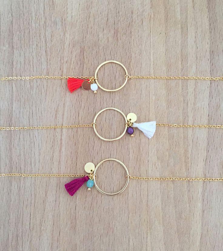 Bracelet Cercle Plaqué Or 24k Petite Perle et Pompon
