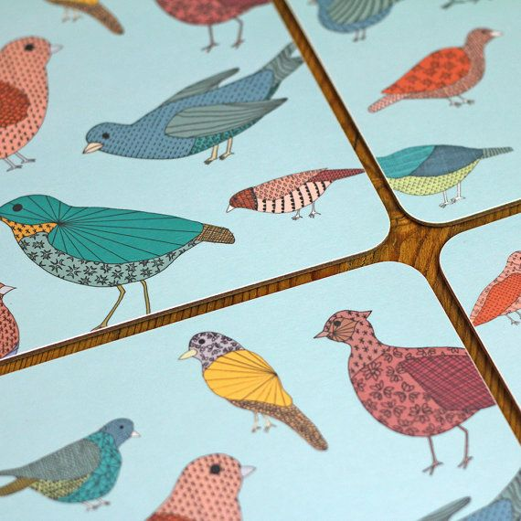 Colourful Birds Table Placemat by lil3birdy on Etsy