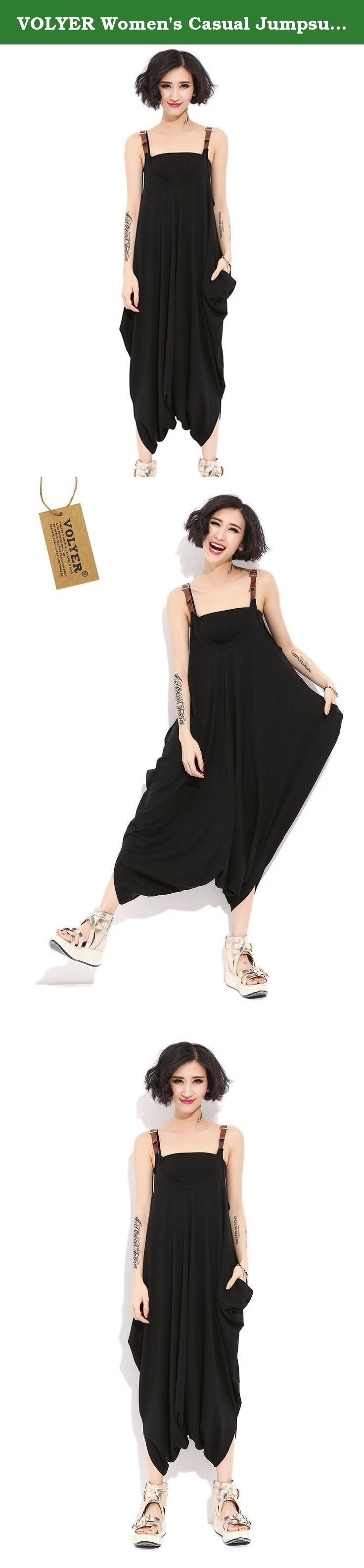 VOLYER Women's Casual Jumpsuit Big Size Strap Loose Rompers (Black). Delivery is about 2 weeks. Please try it on when you got item, and feel free to contact us if there is any quesiton about the item. Thanks for your undestanding. .