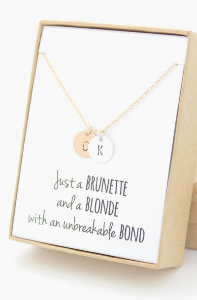 Gold & Silver Two Monograms Disc Necklace