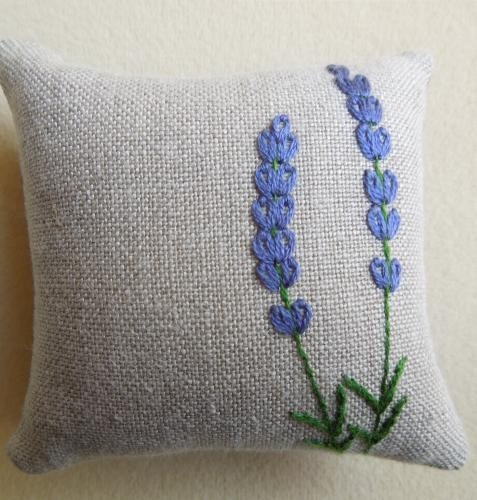 Lavender pin cushion.  Hand embroidered fully finished, tightly stuffed linen pincushions are about 3 inches square. Hand made in Japan.  http://www.frenchneedle.com/collections/sale/products/lavender-pin-cushion#