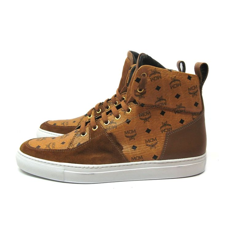 Very hard to find MCM by Michalsky high top sneaker Urban Nomad II High, in Cognac leather with suede details and MCM logo pattern.Size: 46.Made in Italy.