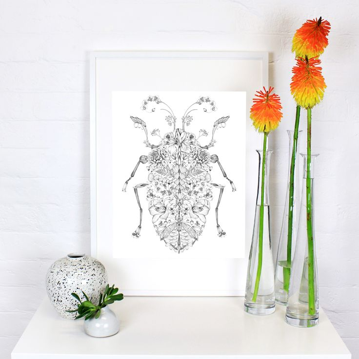 This gorgeous beetle is composed entirely of tiny floral elements: individual petals, flowers, leaves and buds. Delicate yet strong, this artwork is a unique perspective on an unexpected subject. We love the idea that every time you look at this wonderful creature you discover new petals and blooms hiding around the page. This illustration took over 100 hours to complete.