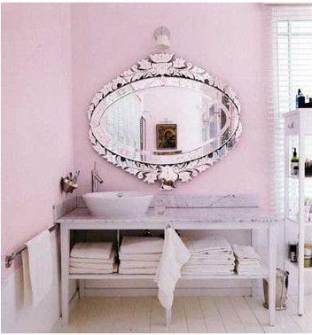 ...: Mirror Mirror, Bathroom Colors, Venetian Mirror, Bathroom Mirror, Beautiful Bathroom, Pink Wall, Powder Rooms, Master Bathroom, Pink Bathroom