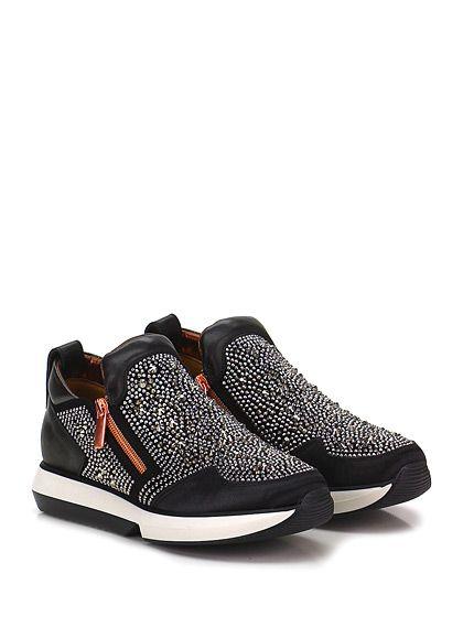 ALEXANDER SMITH LONDON - Sneakers - Donna - Sneaker in pelle e camoscio con zip su ambo i lati, multi borchie su tomaia e strass su retro. Suola in gomma, tacco 35. Interno in pelle laminata. - BLACK - € 298.00