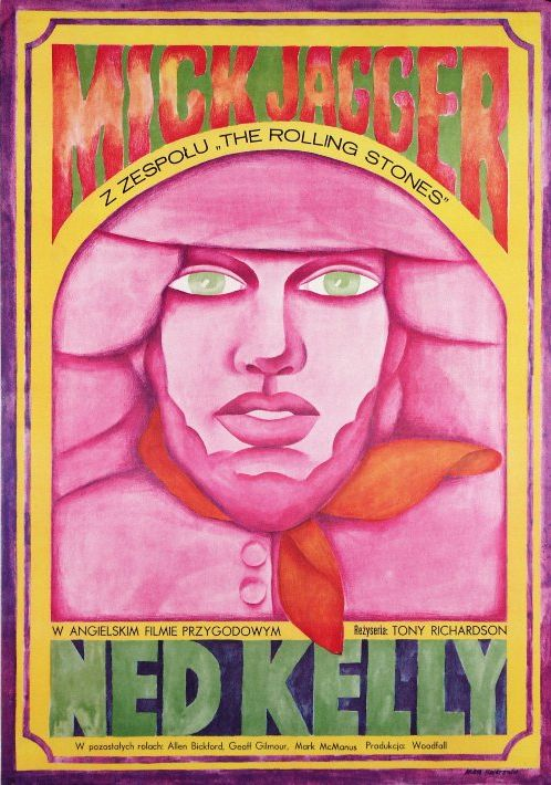 Polish Movie Poster by Maria Ihnatowicz, 1973, 'Ned Kelly' by T. Richardson with Mick Jagger.
