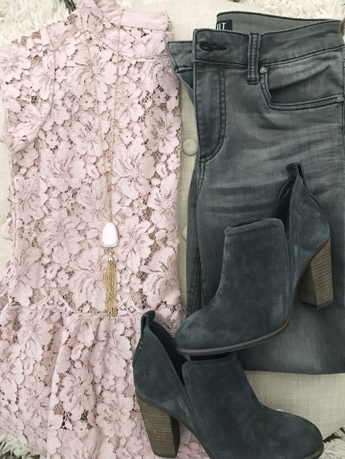 15 Fall Cute & Comfy Fall Outfits, pink lace blouse with grey jeans and grey booties #fallfashion #outfitinspiration