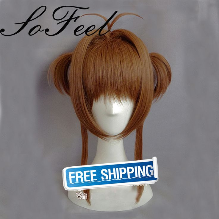 Sofeel Cardcaptor Sakura Kinomoto Sakura Cosplay Wig Brown 40cm Short hair Anime Cosplay Wigs Pluto P374C ** Detailed information can be found by clicking on the image