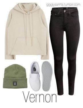 """How they would dress as girls // Vernon"" by suga-infires ❤ liked on Polyvore featuring H&M, Herschel Supply Co. and Vans"