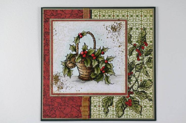 Holly Basket: Stampend Christmas, Holly Baskets, Christmas Cards, Cards Ideas, Handmade Cards, Holidays Cards, Stampend Holly, Stampend Cards, Christmas Ideas