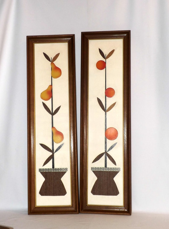 Modern Wall Decor For Kitchen : Danish modern mid century wall art pears oranges s