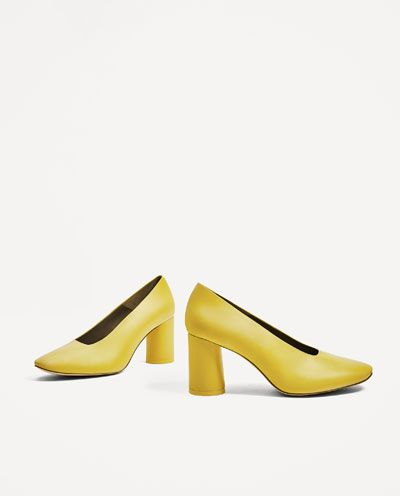 Image 4 of YELLOW LEATHER MID HEEL SHOES from Zara