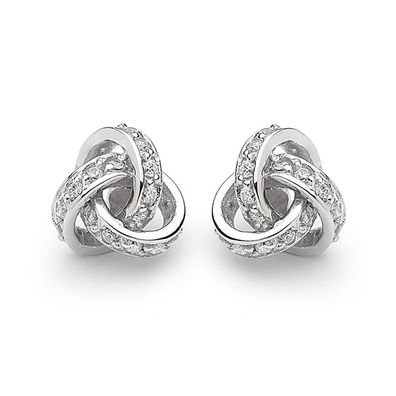 Silver and Some - Georgini Earrings, Love Knot Clear CZ Studs $139.00