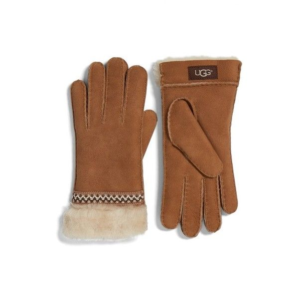 Women's Ugg Classic Tasman Genuine Shearling Gloves ($140) ❤ liked on Polyvore featuring accessories, gloves, chestnut, ugg, shearling gloves and ugg gloves
