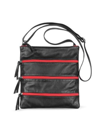 Black Zippered Italian Leather Flat Shoulder Bag
