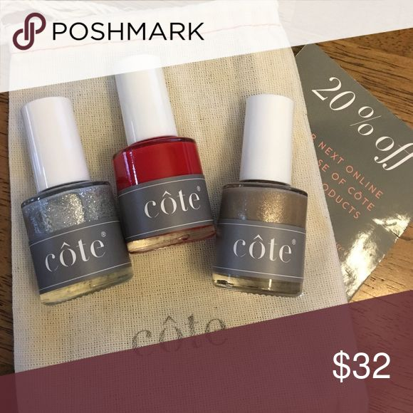 New Cote Seaside holiday set New and unused. Nail polish is vegan, cruelty- free and toxin- free!!  Comes in an adorable little bag and with a 20% off coupon for future orders!  Colors are bronze shimmer, bold high-shine red creme, and a silver micro-glitter with great coverage. Bigger discounts on bundles!  Message me! Côte Makeup
